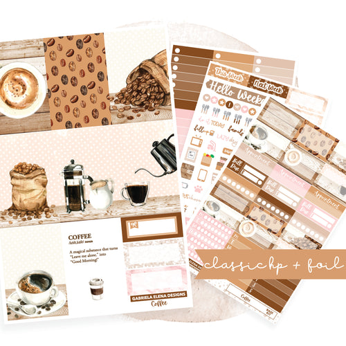 Coffee // CLASSIC HAPPY PLANNER / Sticker Kit / FOIL