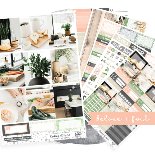 Cooking at Home / Photo Series // Deluxe EC VERTICAL // Sticker Kit // Full Weekly Kit / FOIL