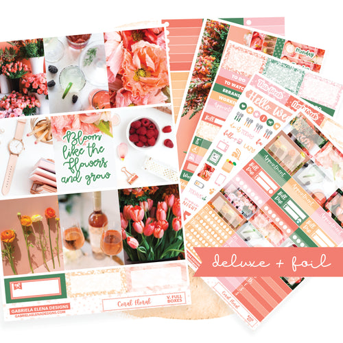 Coral Floral // Deluxe VERTICAL // Sticker Kit // Full Weekly Kit / FOIL
