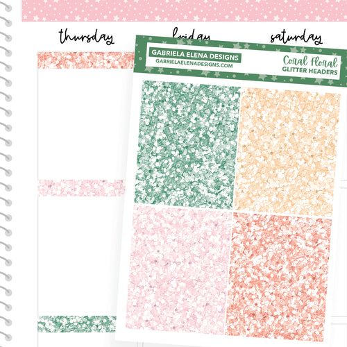 Coral Floral // a la carte / Sticker Kit Add On / Glitter Headers