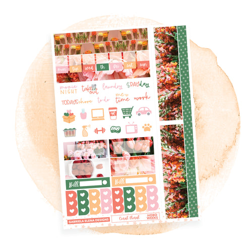 Coral Floral / HOBONICHI WEEKS // Sticker Kit