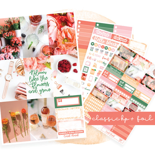 Coral Floral // CLASSIC HAPPY PLANNER / Sticker Kit / FOIL