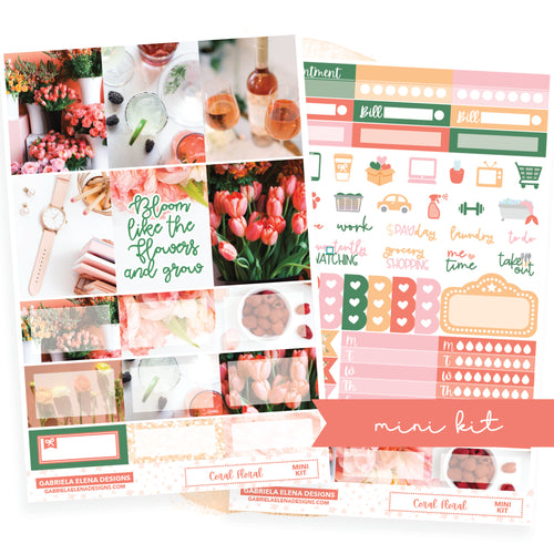 Coral Floral // MINI KIT / Sticker Kit / FOIL
