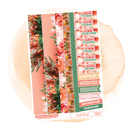 Coral Floral // a la carte / Sticker Kit Add On / Washi and Date Covers / FOIL