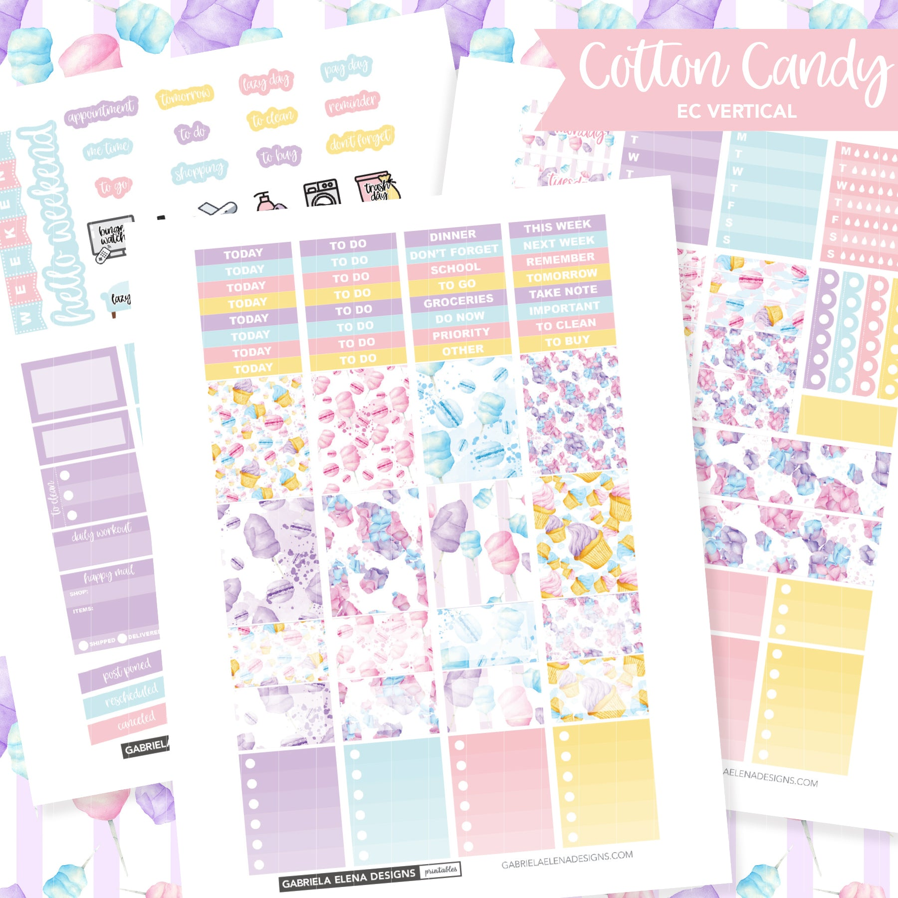 VERTICAL Printable / Instant Download / Cotton Candy
