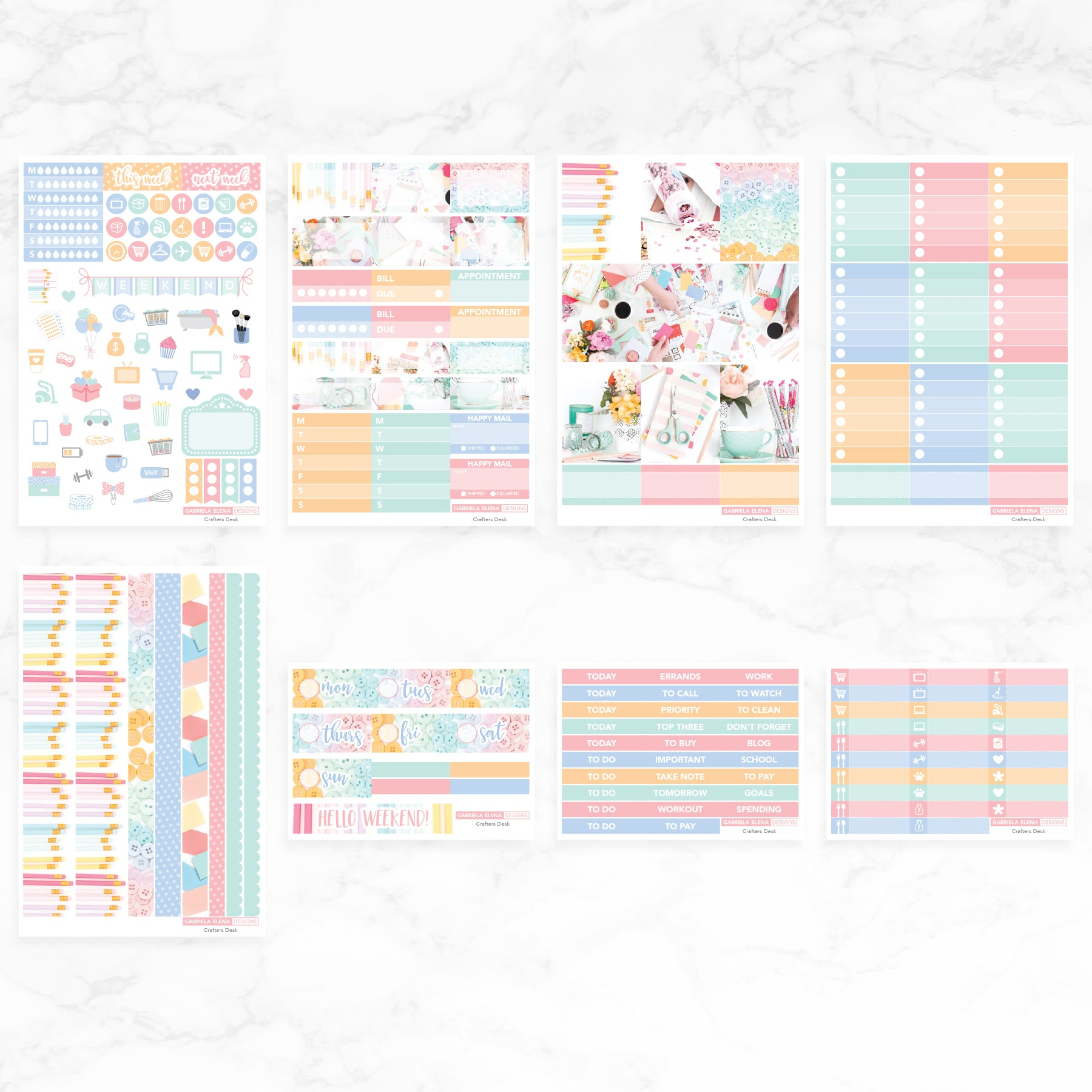 Crafting Desk / Photo Series // Deluxe EC VERTICAL // Sticker Kit // Full Weekly Kit / No white space