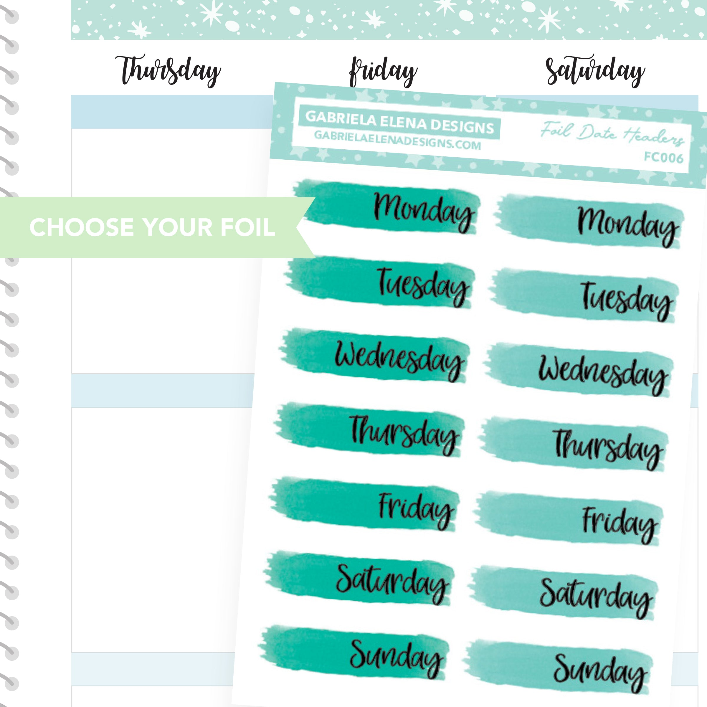 Date Headers Date Covers / FOIL Stickers / Choose Your Foil / Aqua