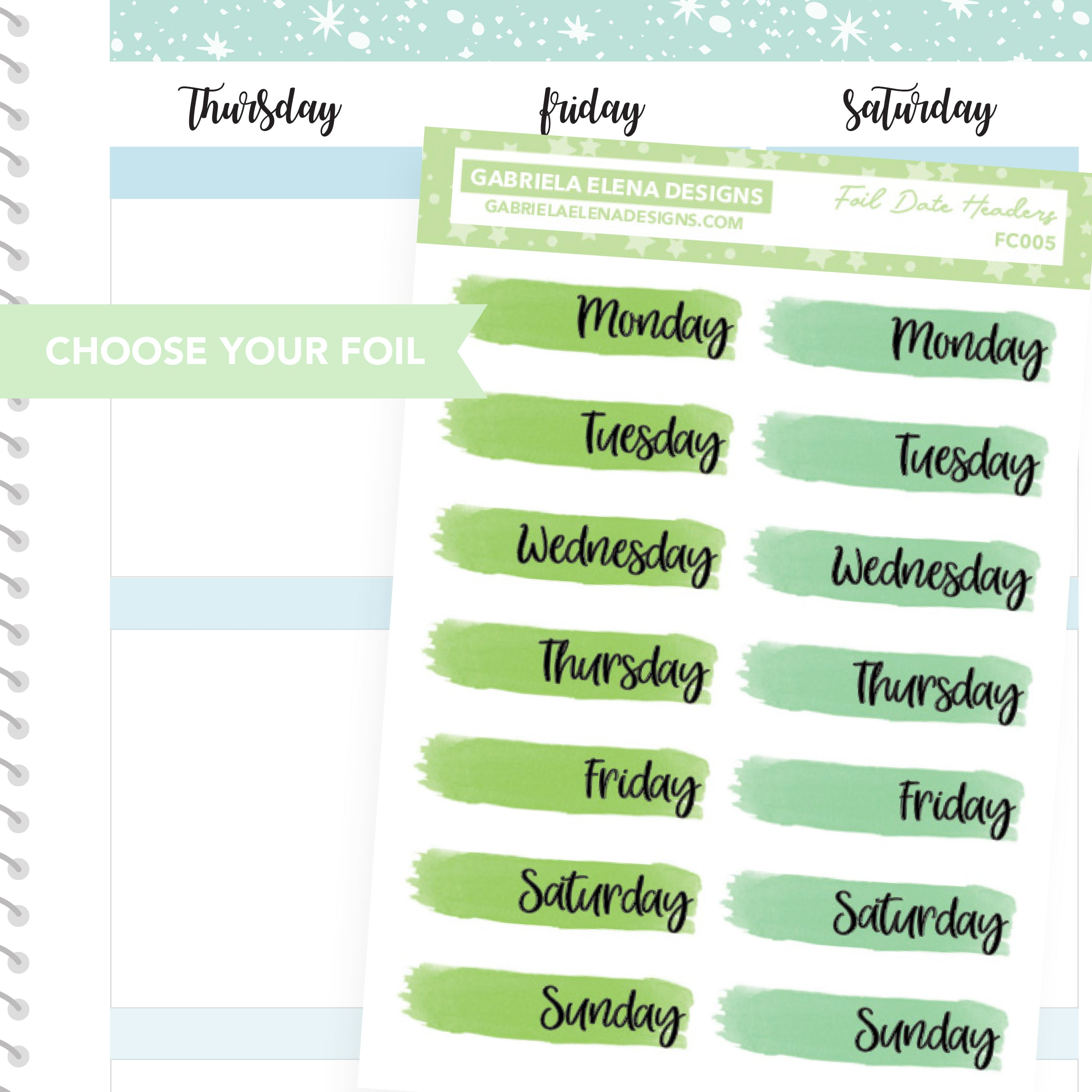 Date Headers Date Covers / FOIL Stickers / Choose Your Foil / Green
