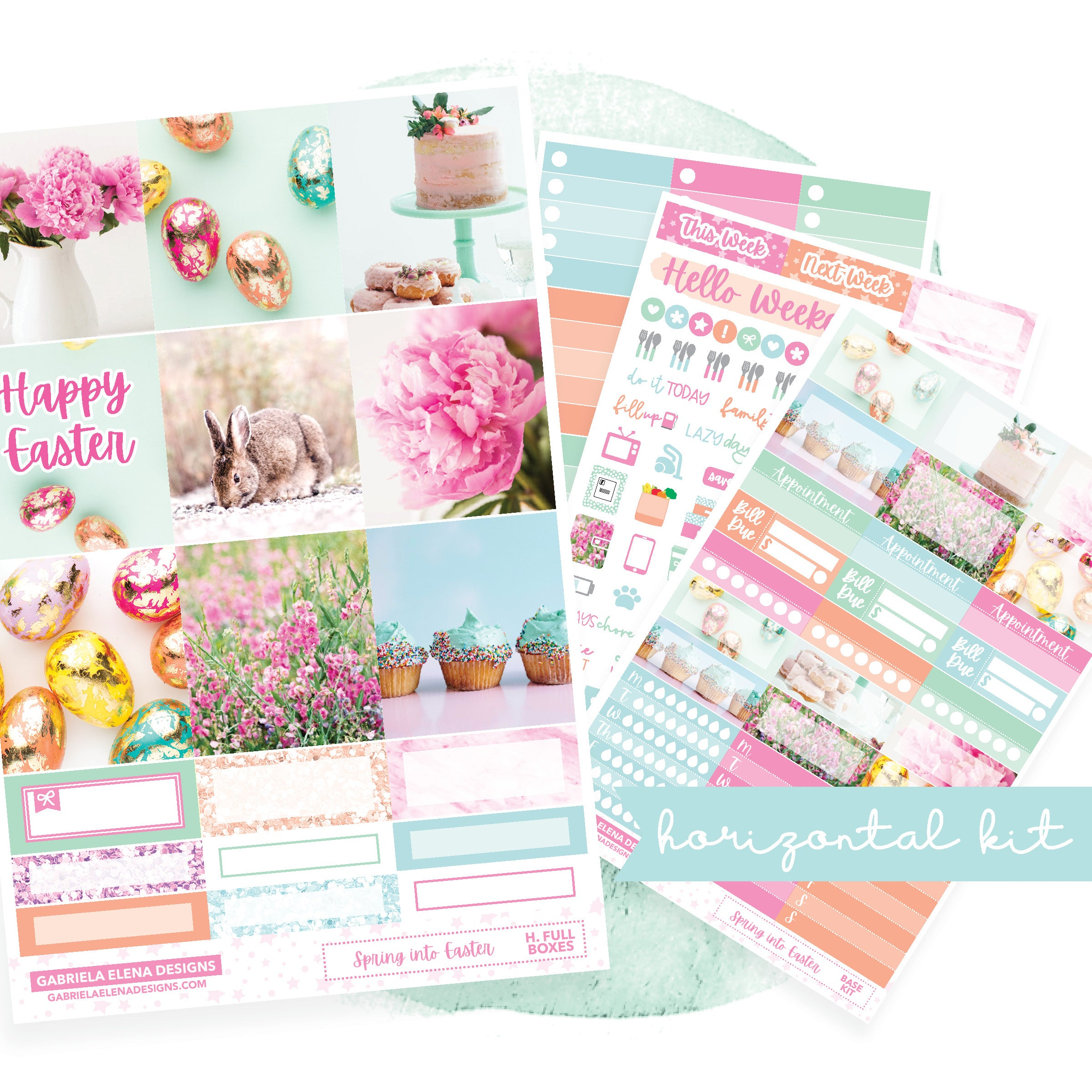Easter Bunny // EC HORIZONTAL / Sticker Kit