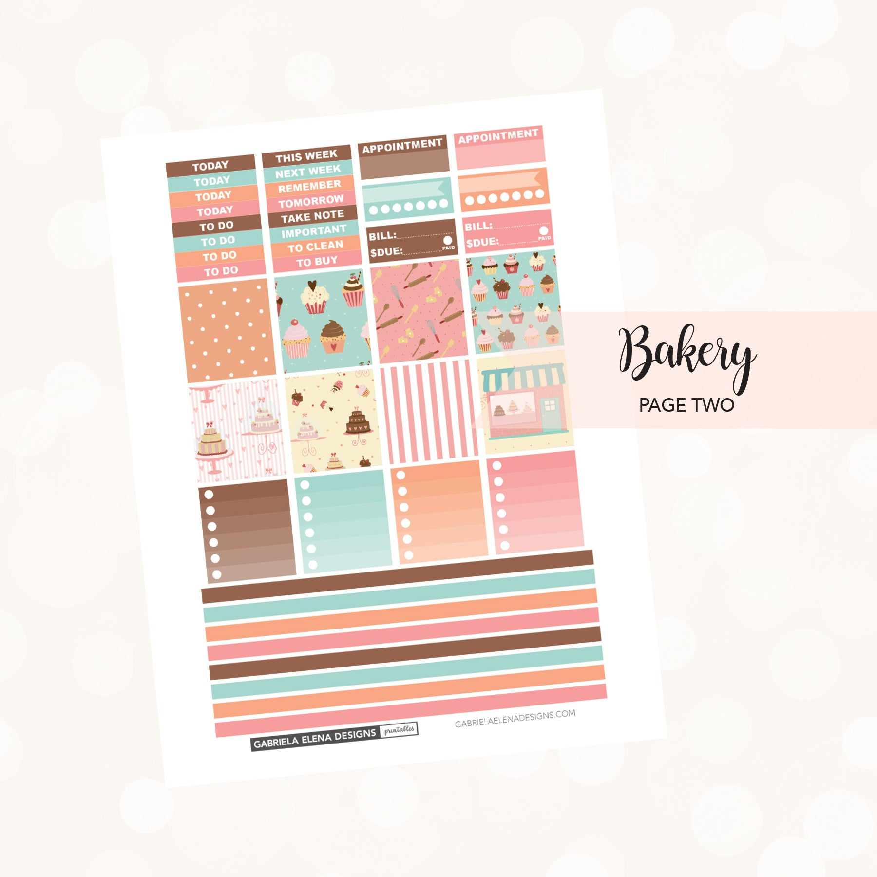 HORIZONTAL Printable / Instant Download / Bakery