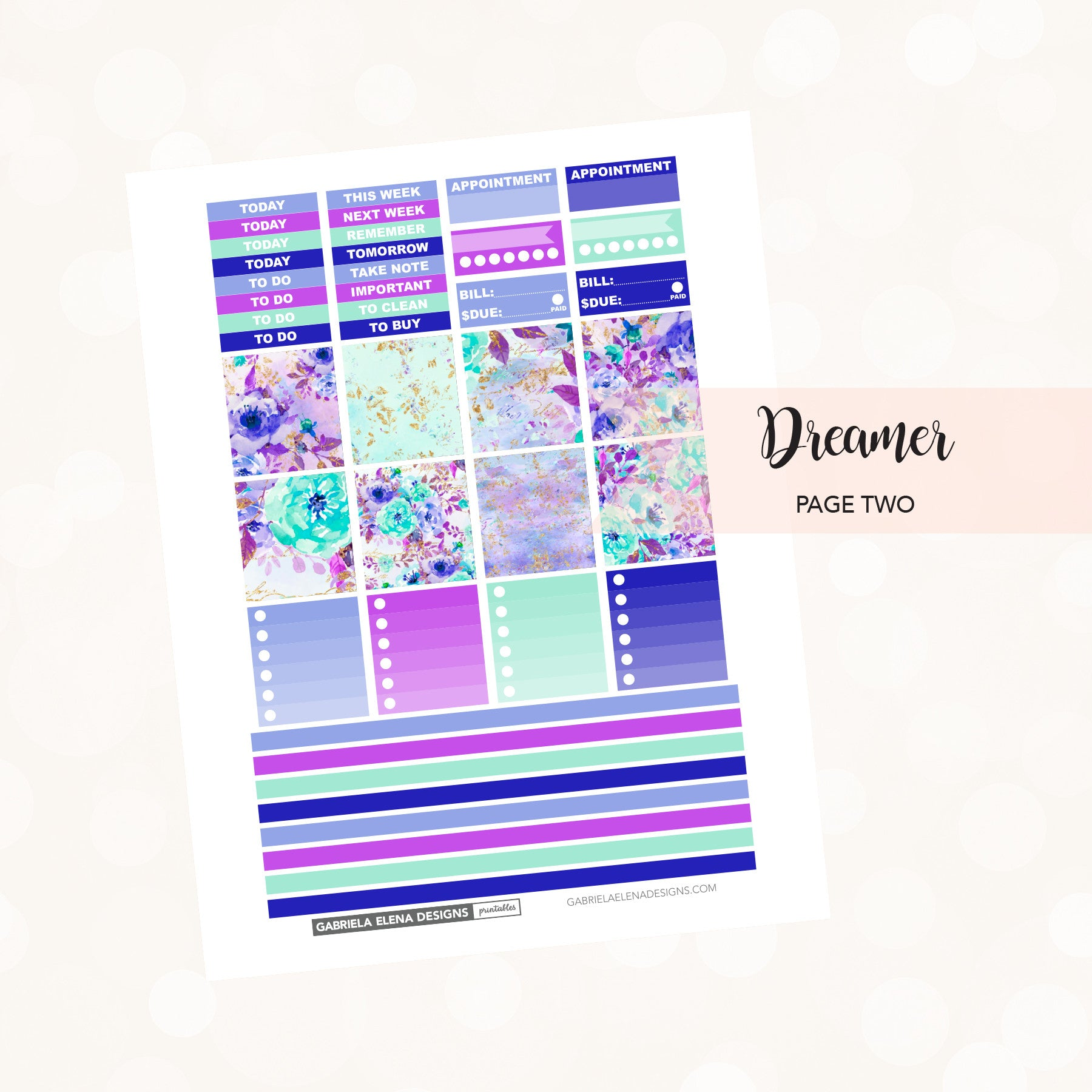 HORIZONTAL Printable / Instant Download / Dreamer