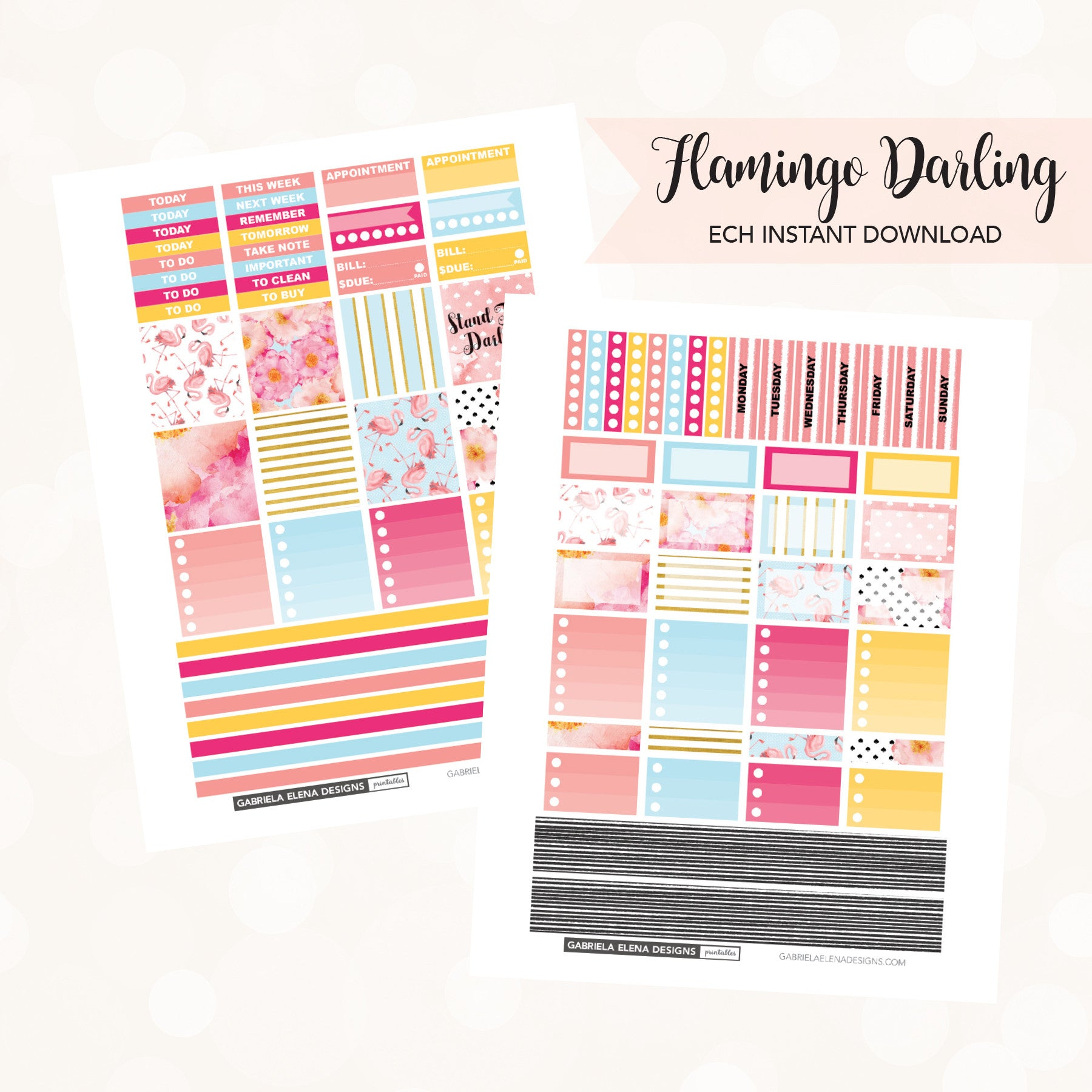 HORIZONTAL Printable / Instant Download / Flamingo Darling
