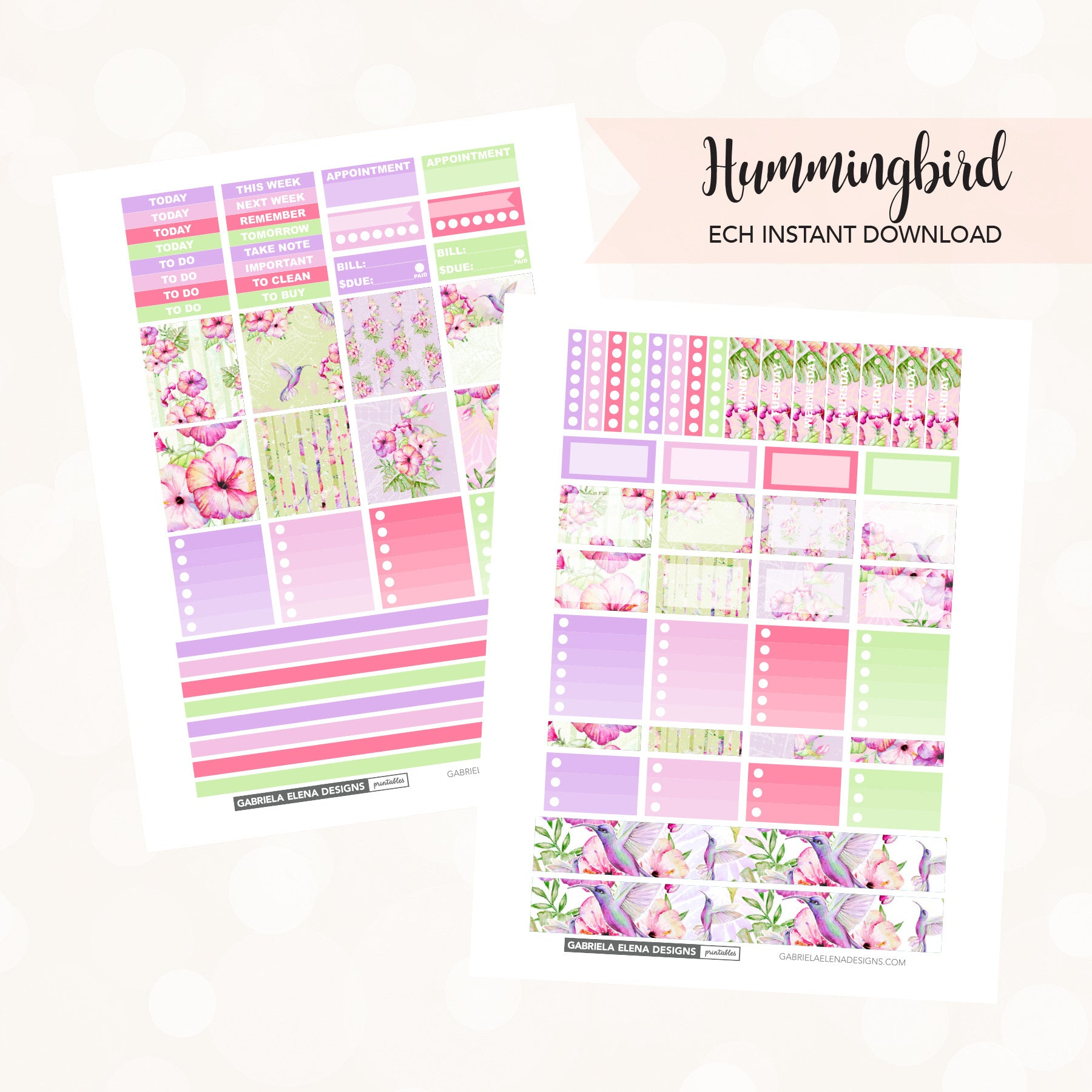 HORIZONTAL Printable / Instant Download / Hummingbird