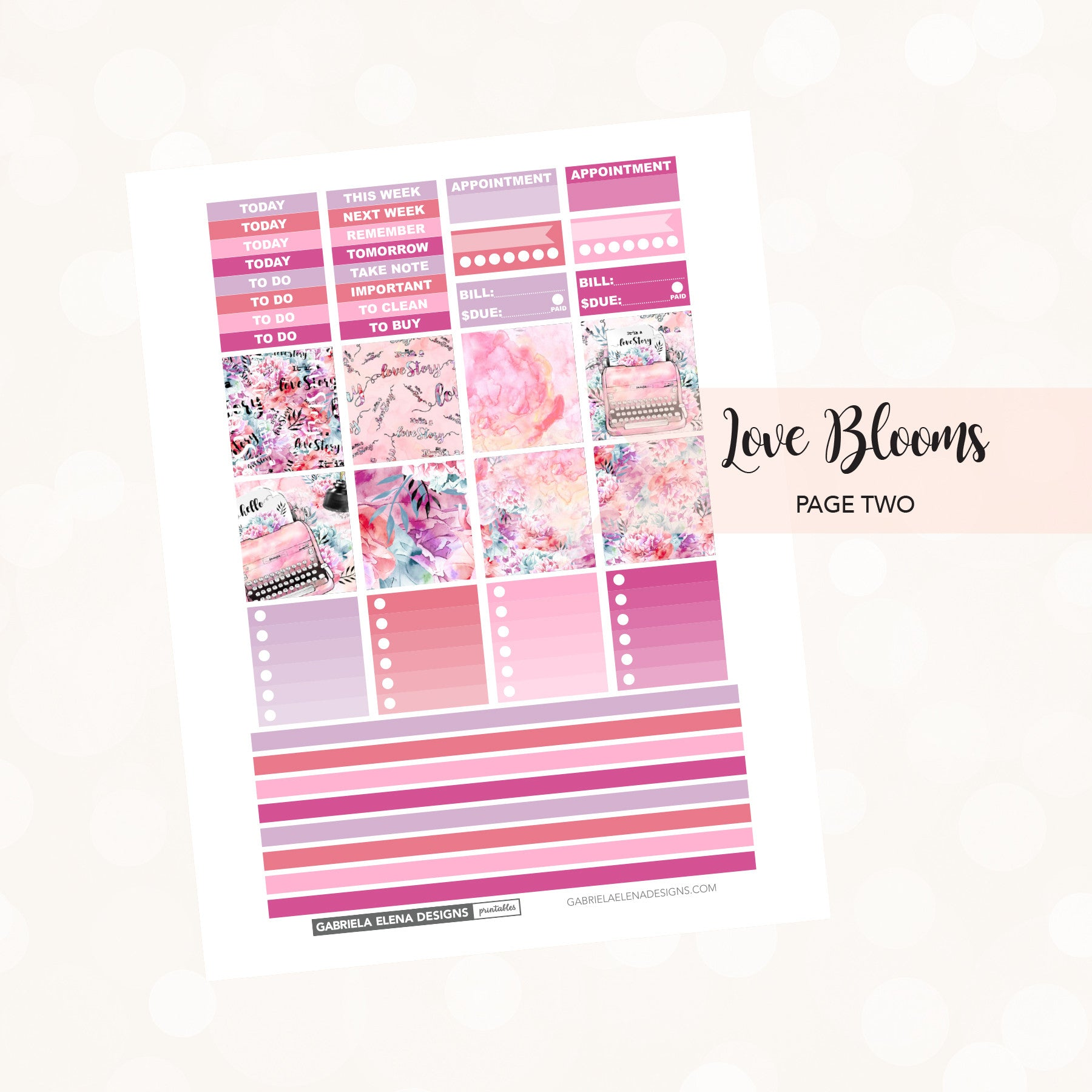 HORIZONTAL Printable / Instant Download / Love Blooms