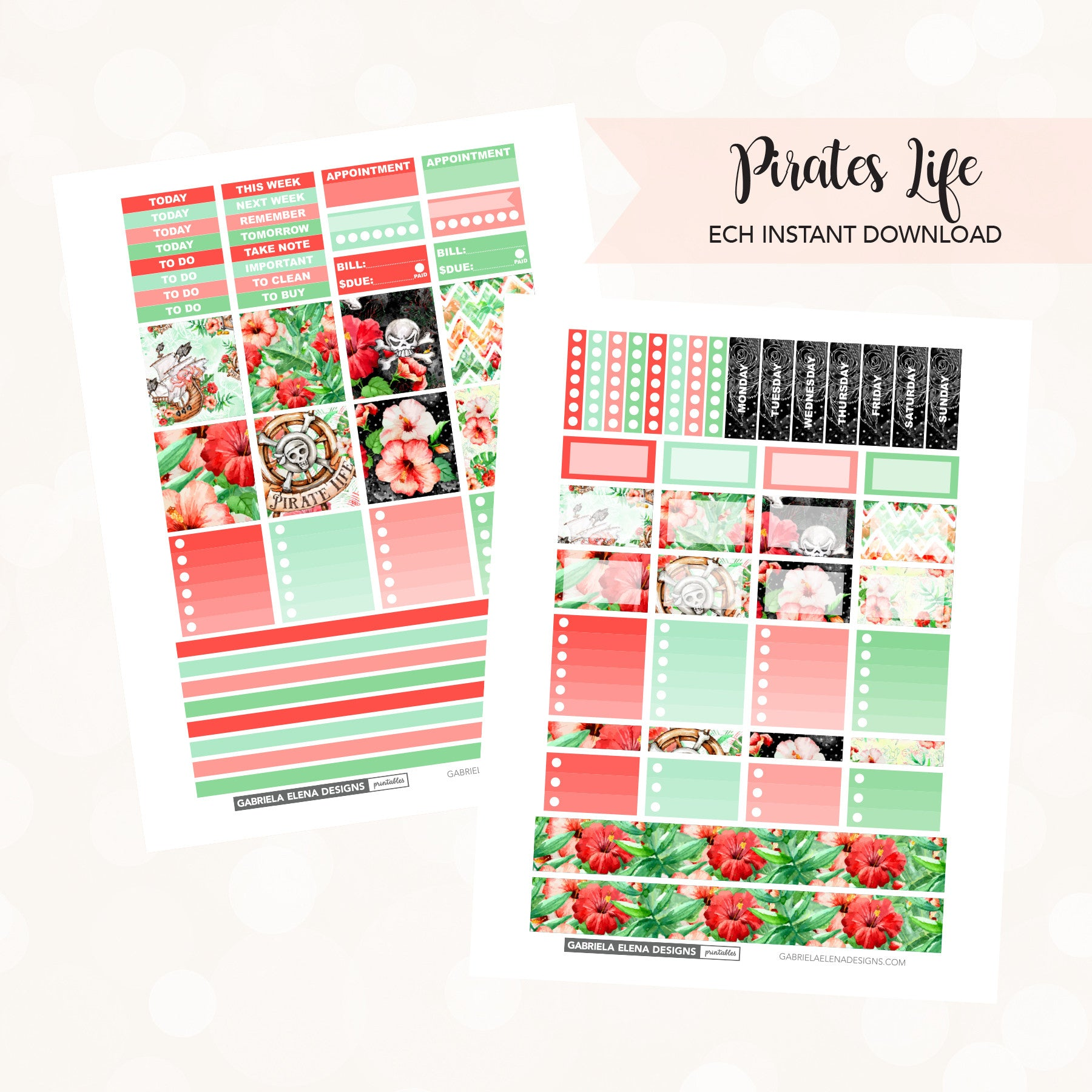 HORIZONTAL Printable / Instant Download / Pirates Life