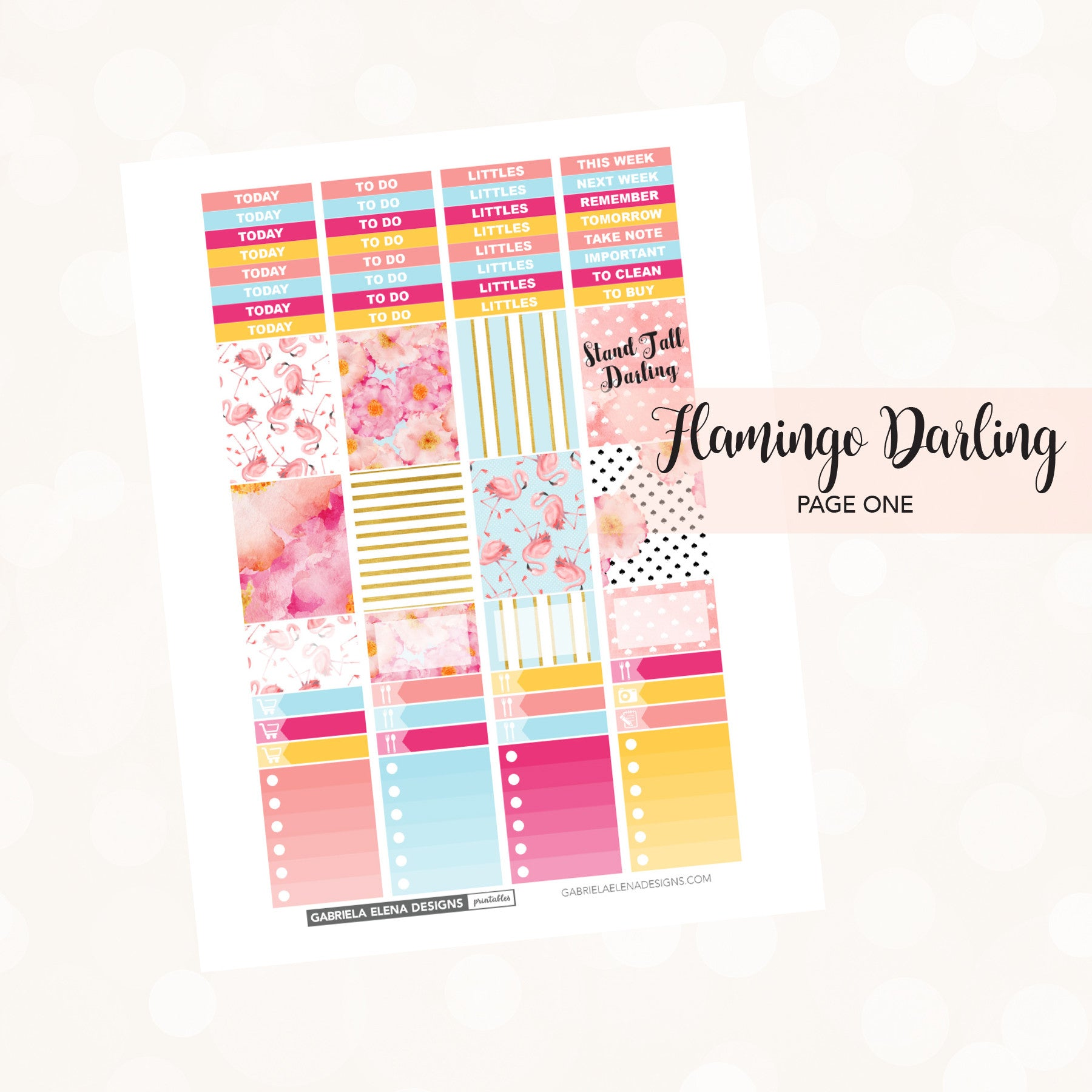 VERTICAL Printable / Instant Download / Flamingo Darling
