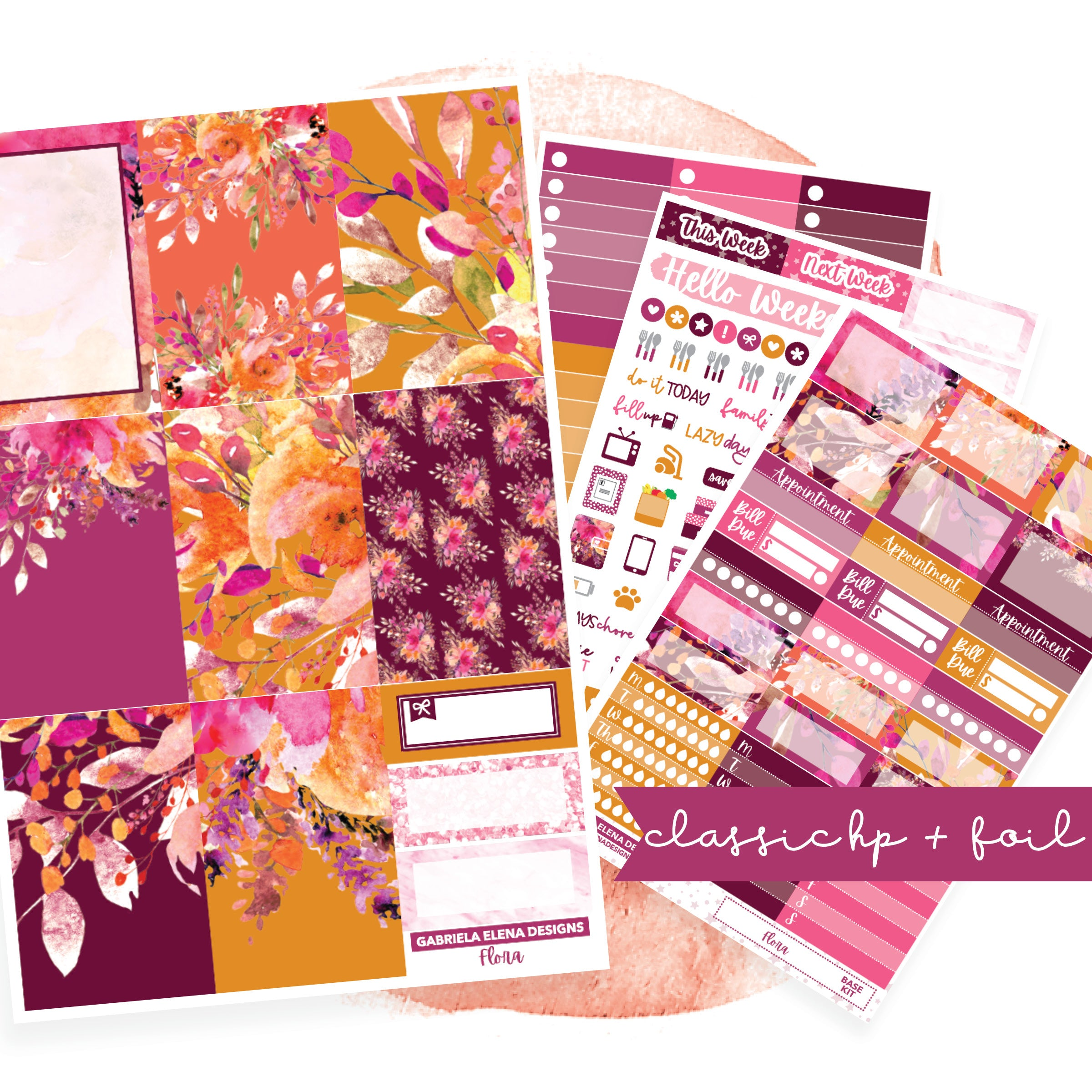 Flora // CLASSIC HAPPY PLANNER / Sticker Kit