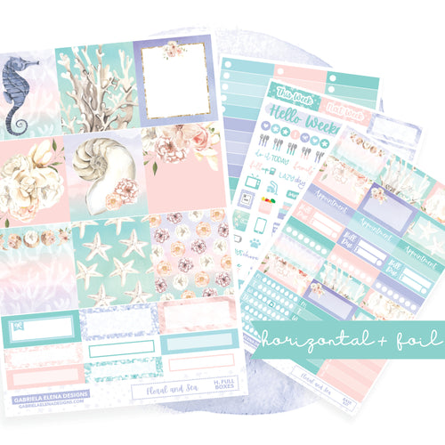Floral and Sea // EC HORIZONTAL / Sticker Kit / FOIL