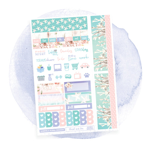 Floral and Sea / HOBONICHI WEEKS // Sticker Kit