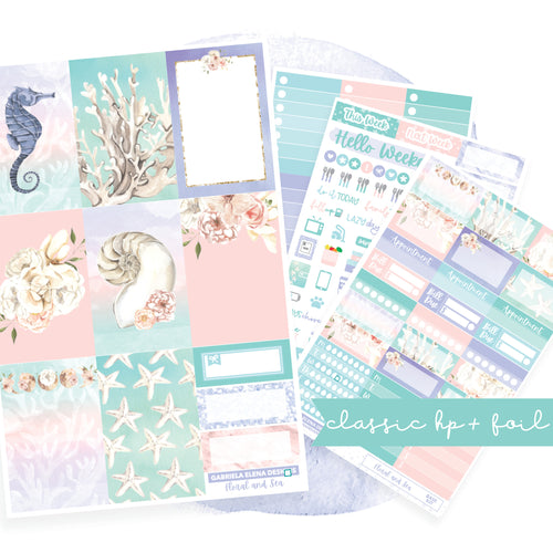 Floral and Sea // CLASSIC HAPPY PLANNER / Sticker Kit / FOIL