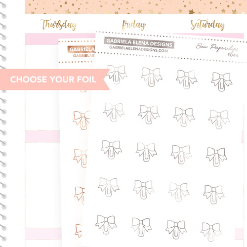 Bow Paperclips / FOIL Stickers / Choose Your Foil