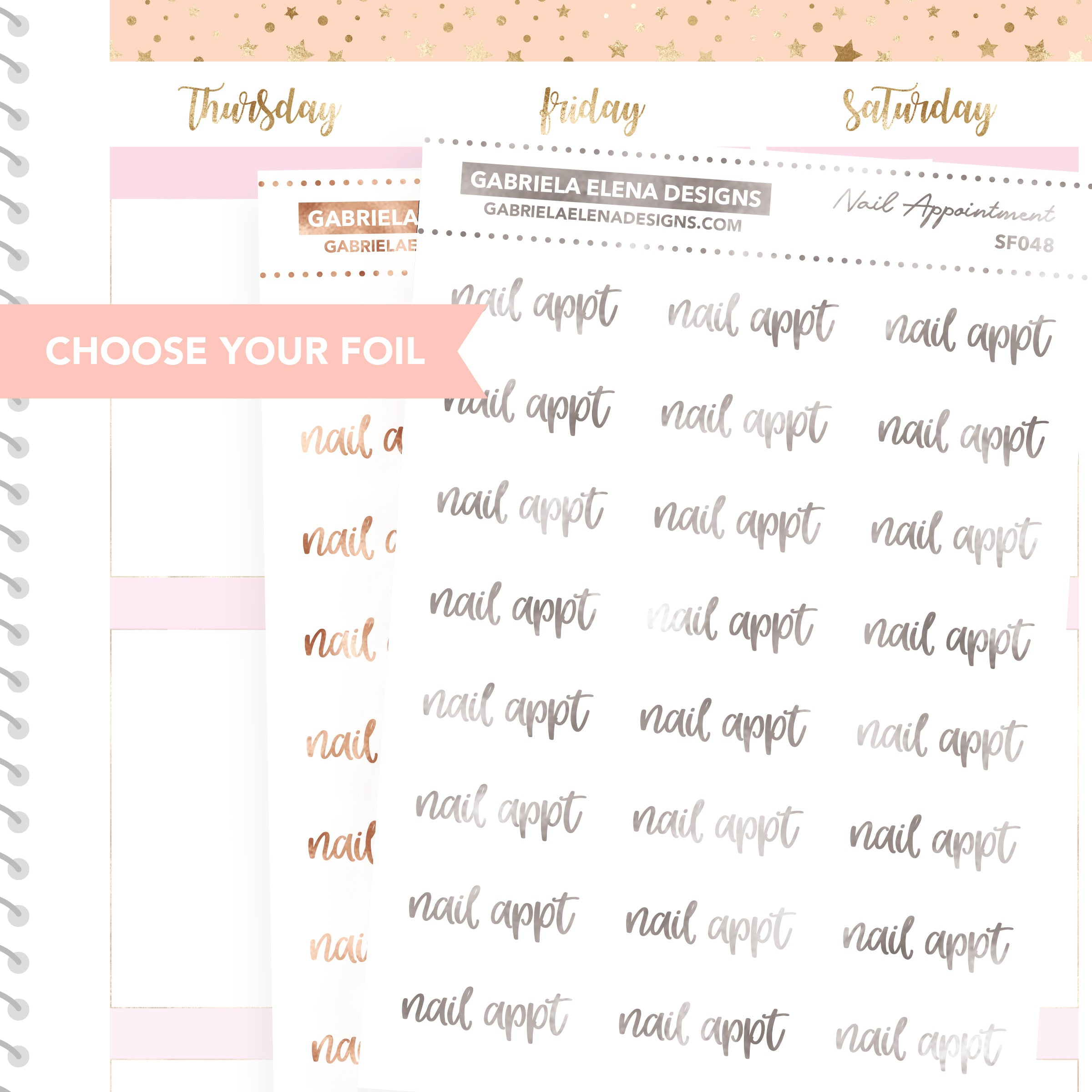 Nail Appointment / FOIL Script Stickers / Choose Your Foil