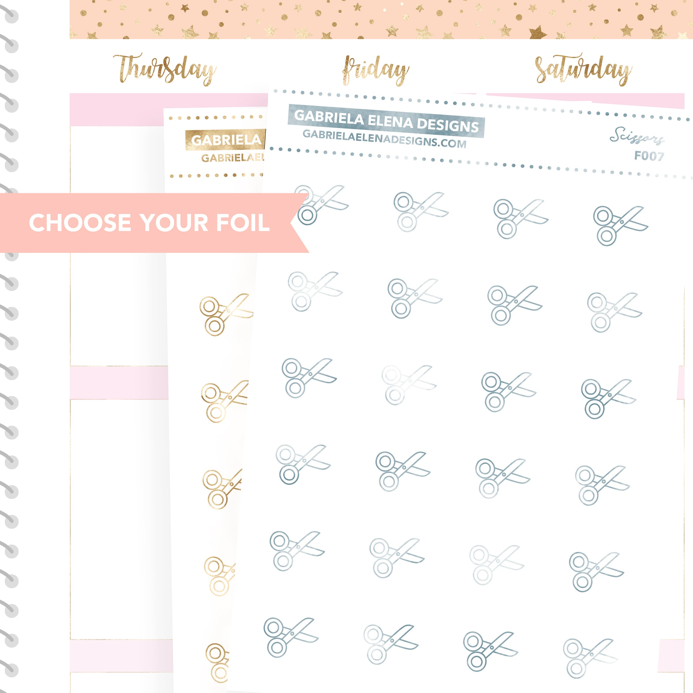 Scissors / FOIL Stickers / Choose Your Foil