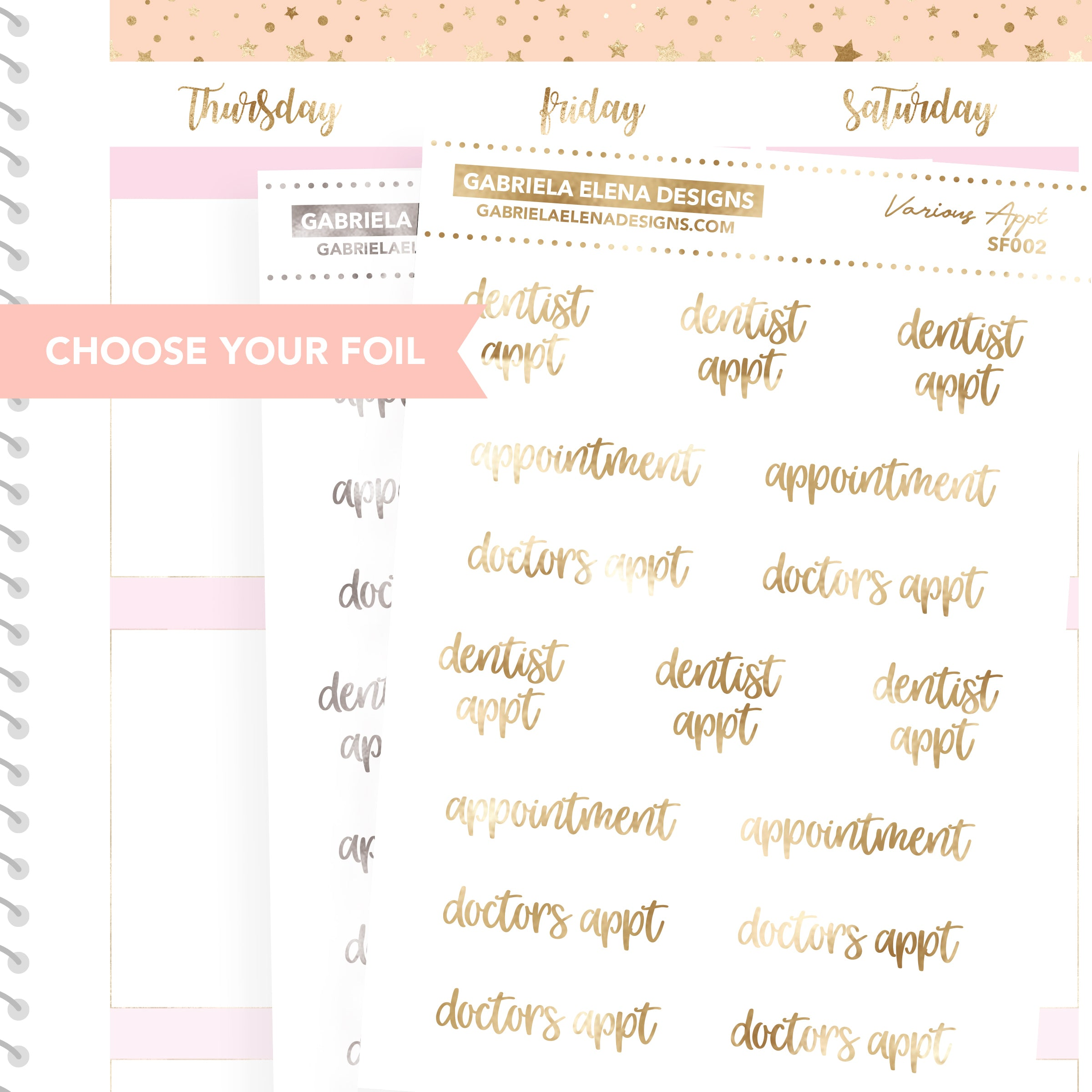 Appointment Various / FOIL Script Stickers / Choose Your Foil