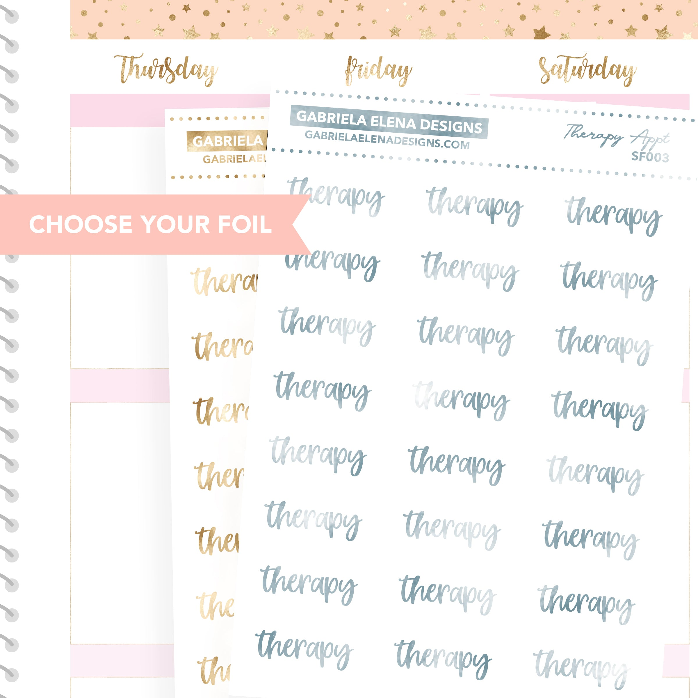 Therapy Appointment / FOIL Script Stickers / Choose Your Foil