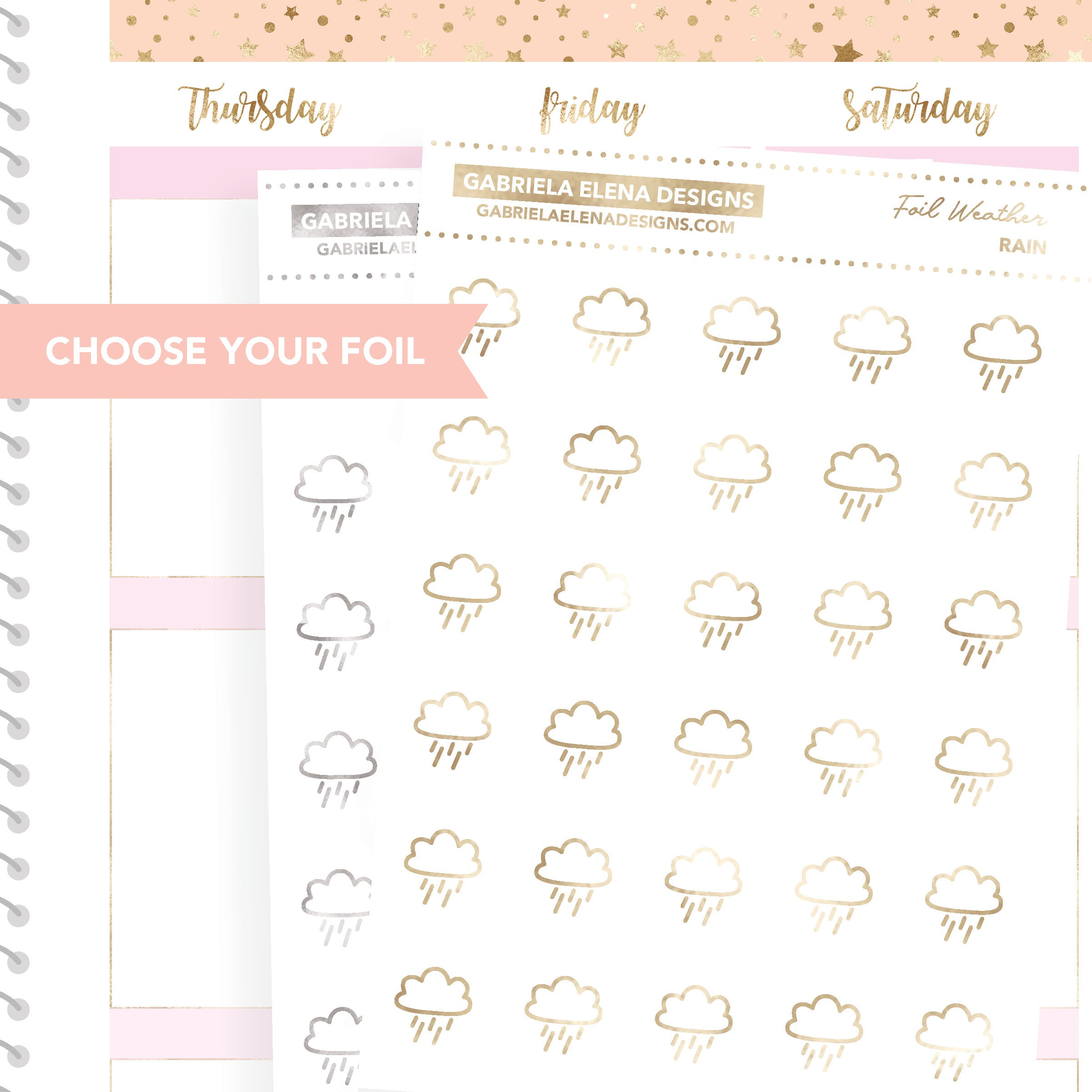 Weather Rain / FOIL Stickers / Choose Your Foil