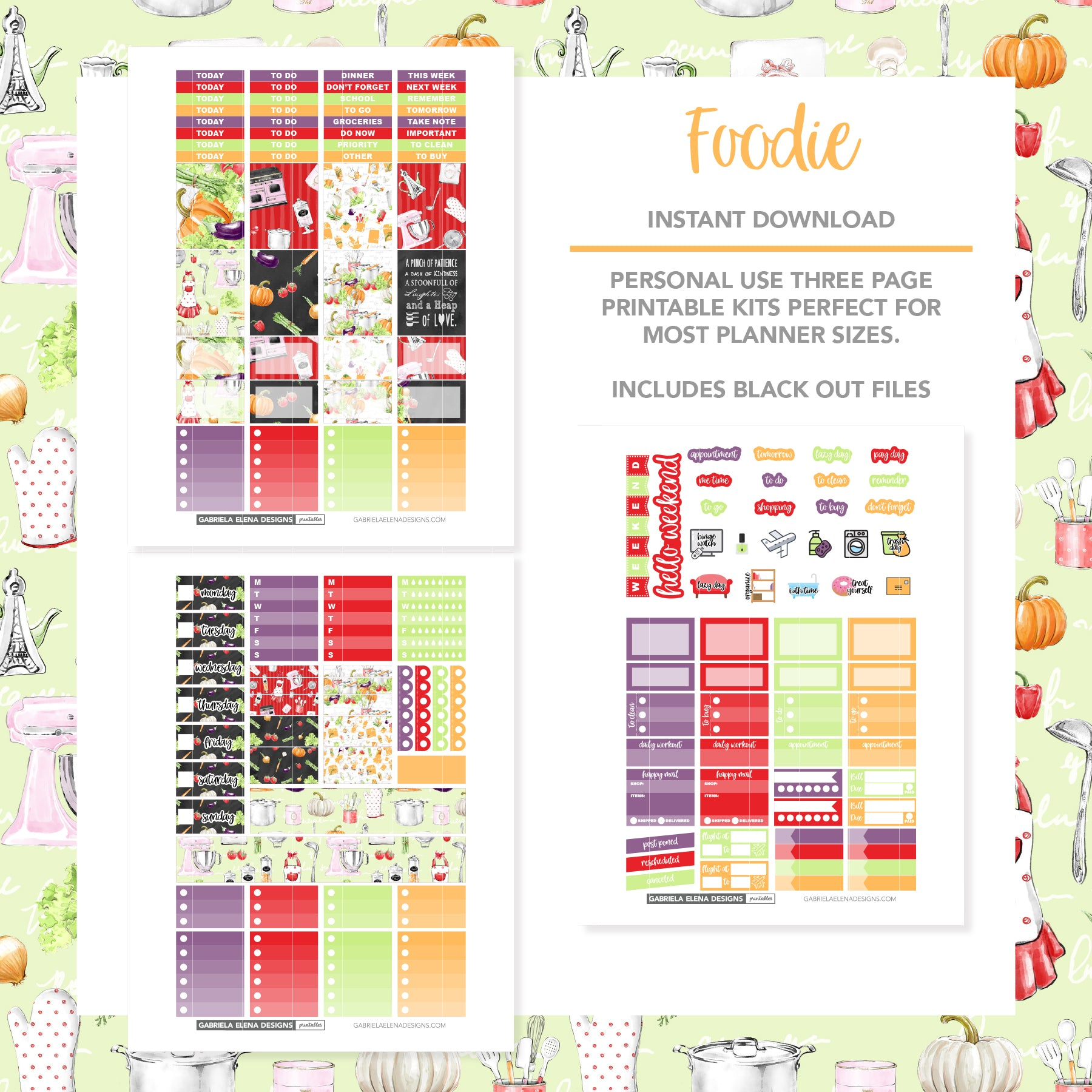 VERTICAL Printable / Instant Download / Foodie