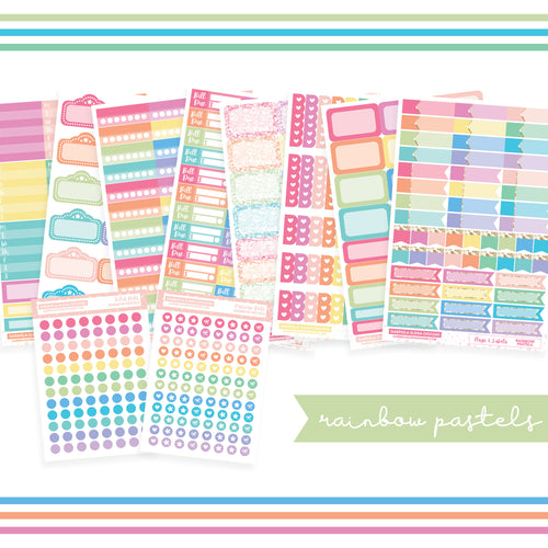 BUNDLE // Functional Planner Stickers / Rainbow Pastels