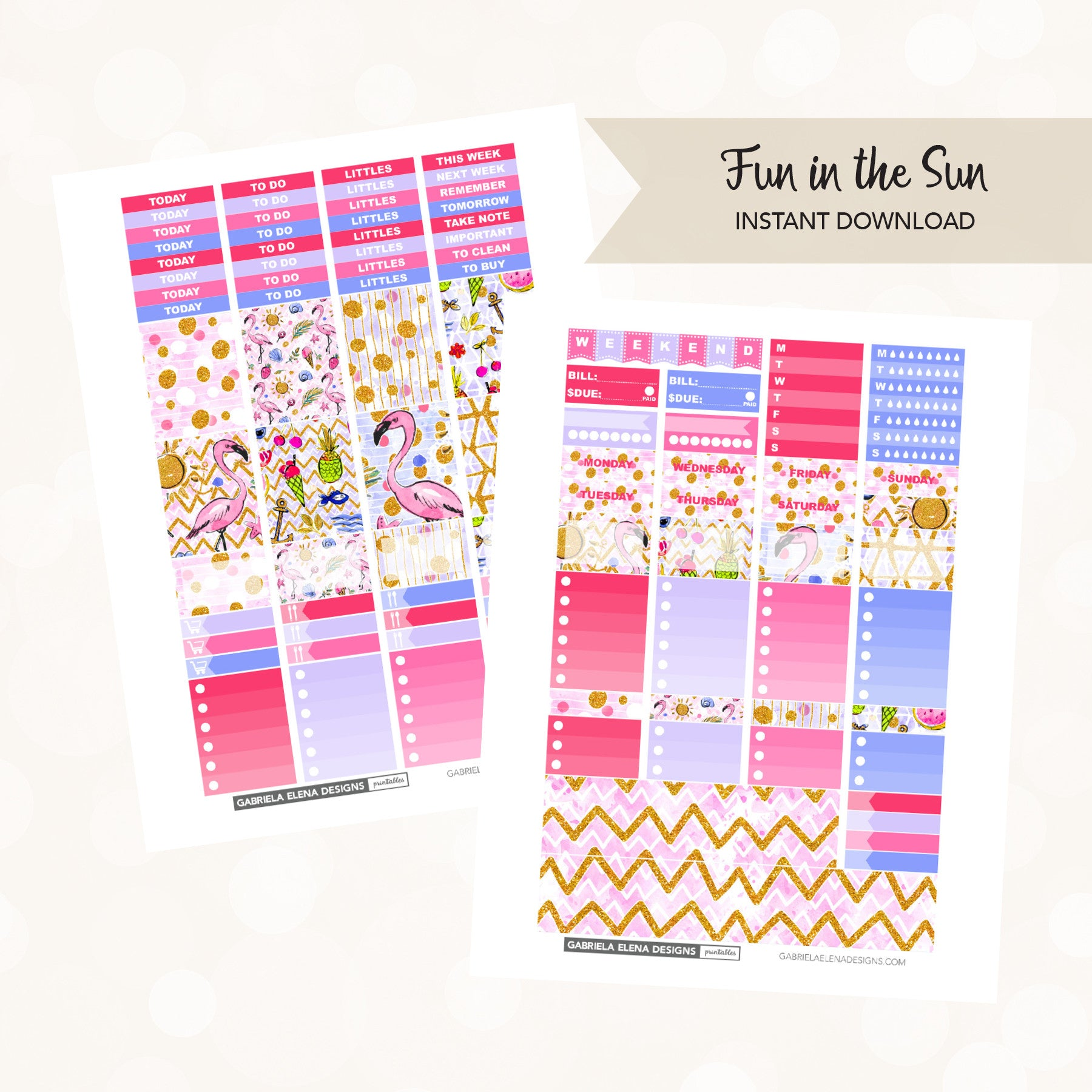 VERTICAL Printable / Instant Download / Fun in the Sun