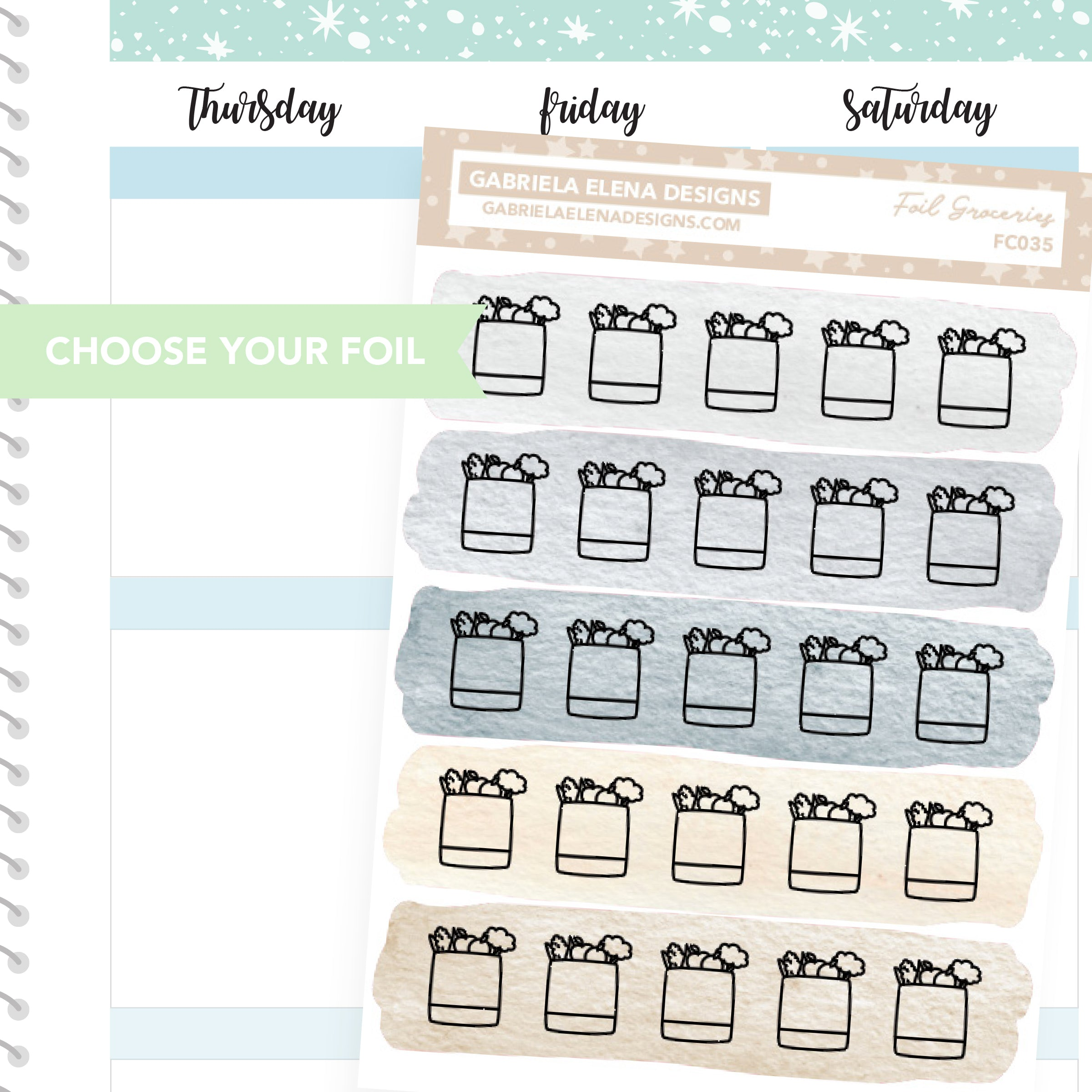 Groceries / FOIL Stickers / Choose Your Foil / Neutrals