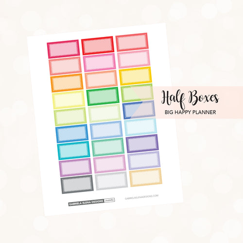 BIG HAPPY PLANNER // Printable / Instant Download / Half Boxes