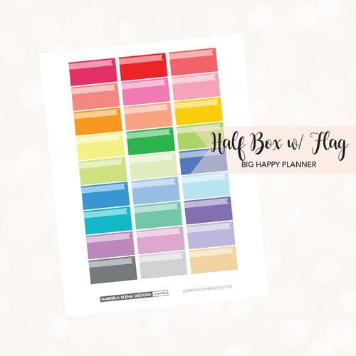 BIG HAPPY PLANNER // Printable / Instant Download / Half Boxes with Flag