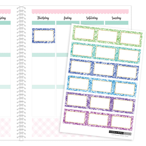 Glitter Half Boxes // Functional Planner Stickers / 2 / Cool