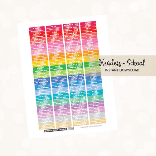 Printable / Instant Download / Headers - School Various