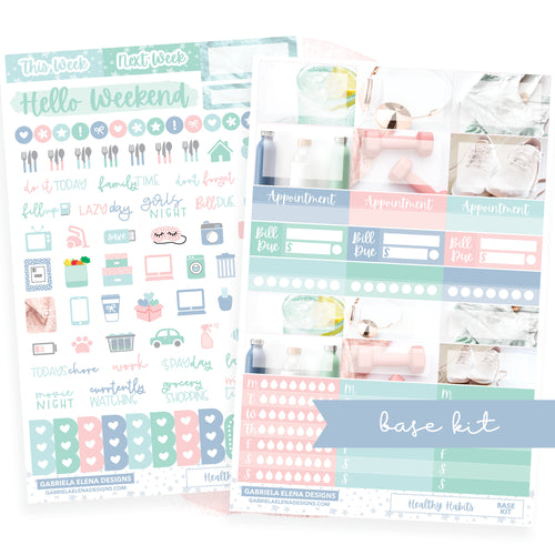 Healthy Habits / Photo Series // BASE KIT / Icons / Functional / Sticker Kit