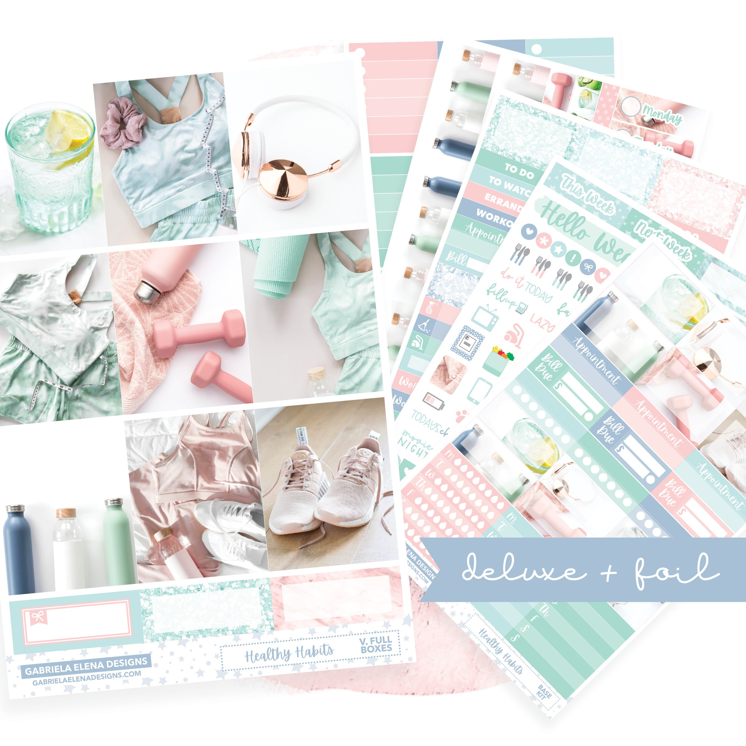 Healthy Habits / Photo Series // Deluxe VERTICAL // Sticker Kit // Full Weekly Kit / FOIL