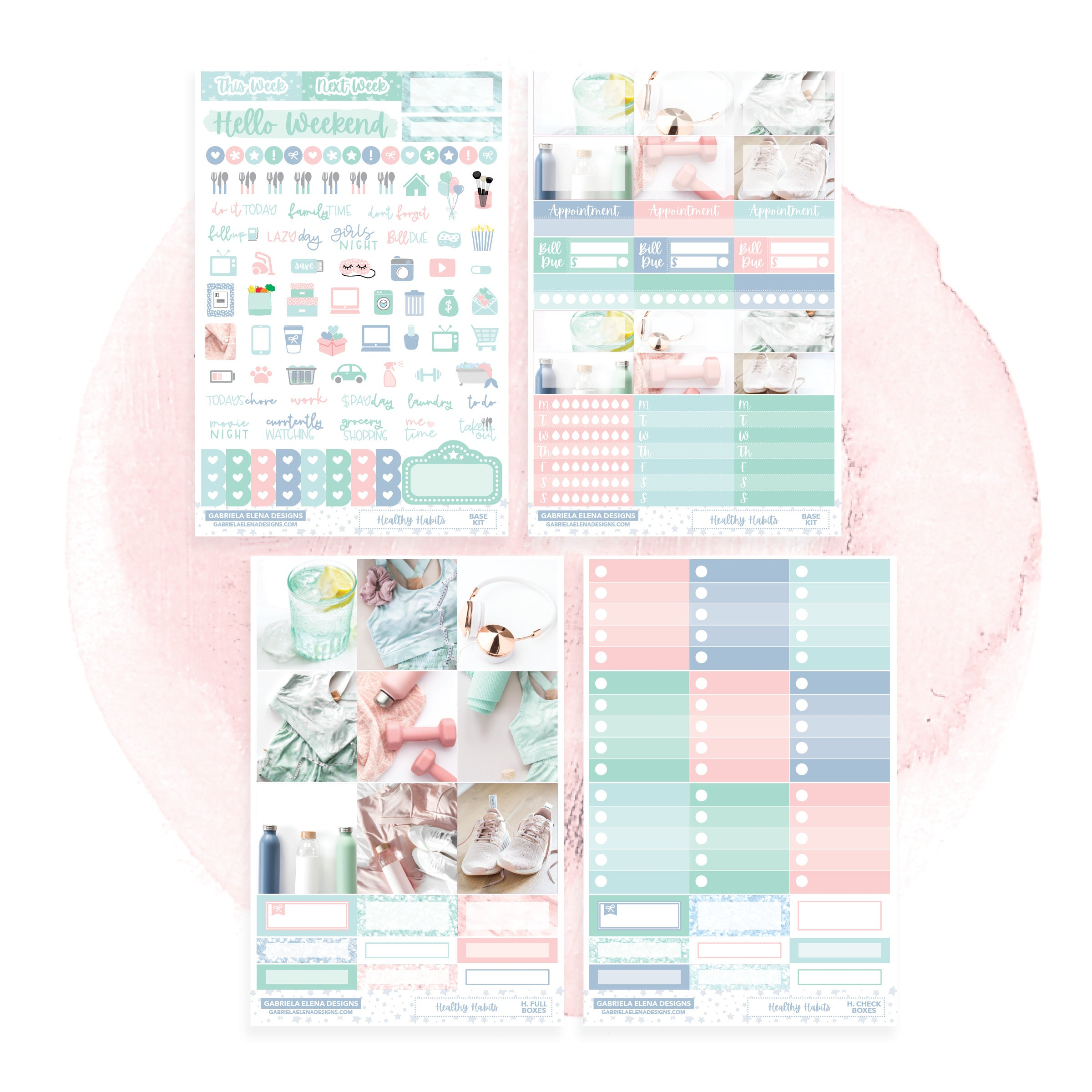 Healthy Habits / Photo Series // HORIZONTAL / Sticker Kit / FOIL