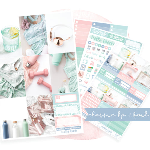 Healthy Habits / Photo Series // CLASSIC HAPPY PLANNER / Sticker Kit / FOIL