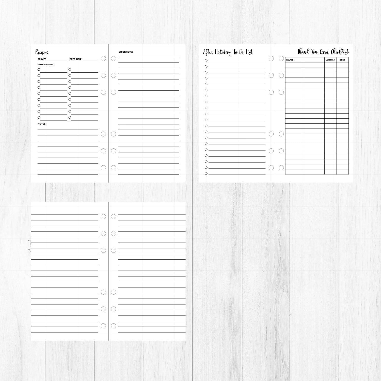 Holiday Personal Inserts // Christmas Organizer