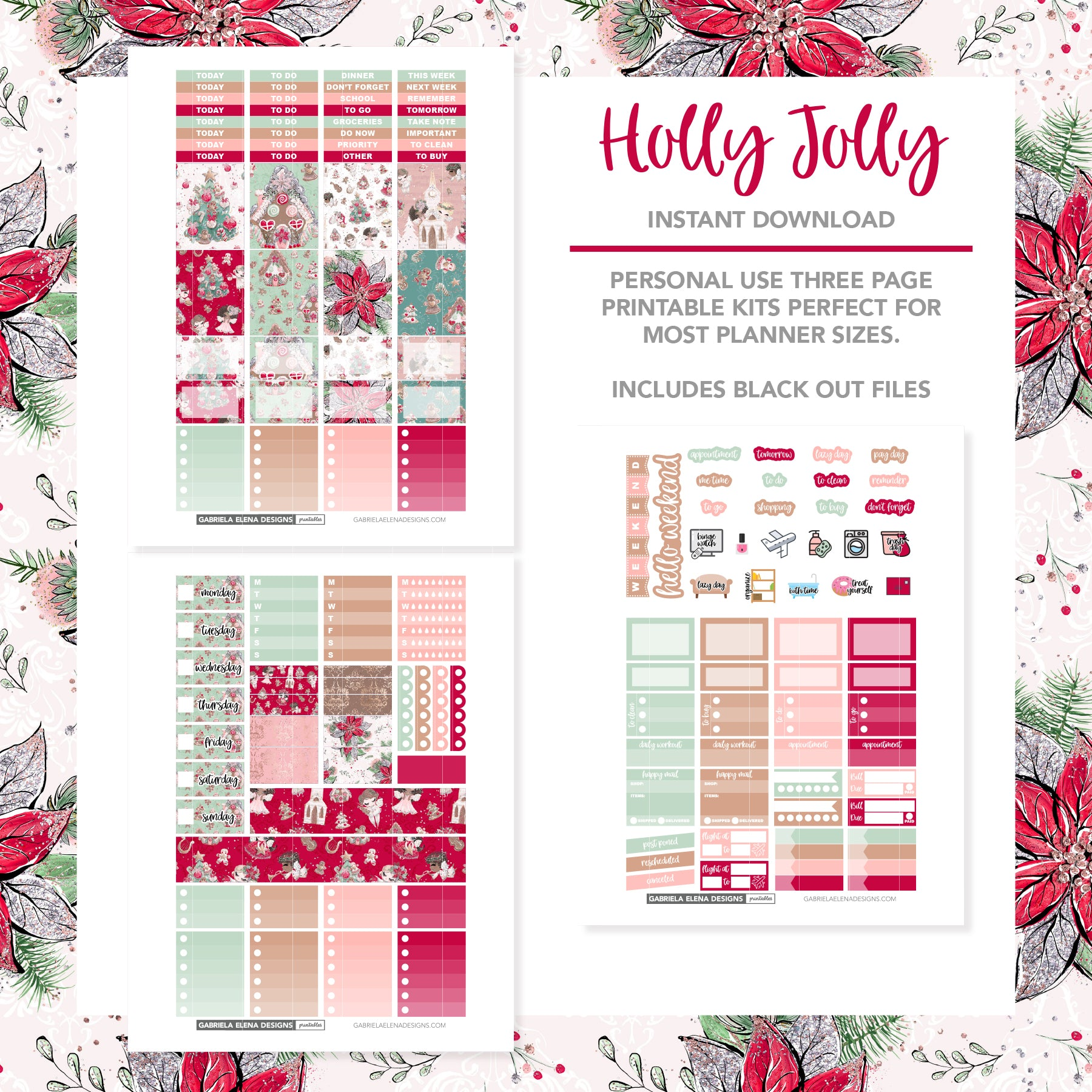 VERTICAL Printable / Instant Download / Holly Jolly
