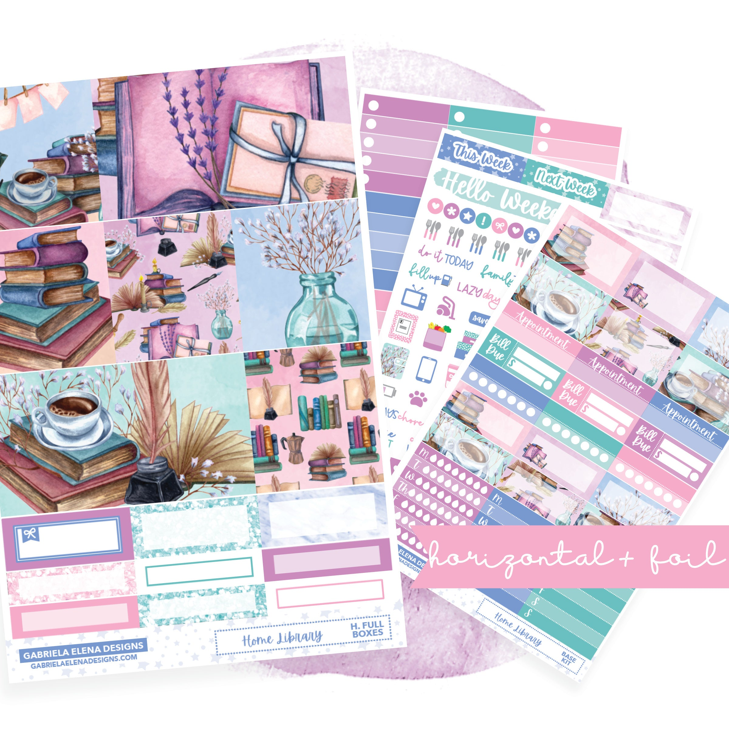 Home Library // HORIZONTAL / Sticker Kit / FOIL
