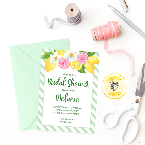 "Printed Invitations / Lemon Flowers / 5"" x 7"""