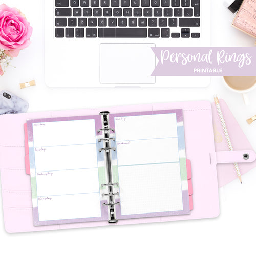 Personal Rings Printable / Instant Download // Horizontal Weekly // Cool