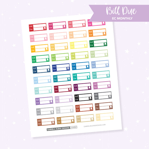 EC MONTHLY / Functional // Printable / Instant Download / Bill Due