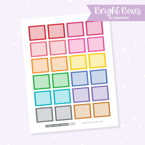EC MONTHLY / Functional // Printable / Instant Download / Bright Boxes