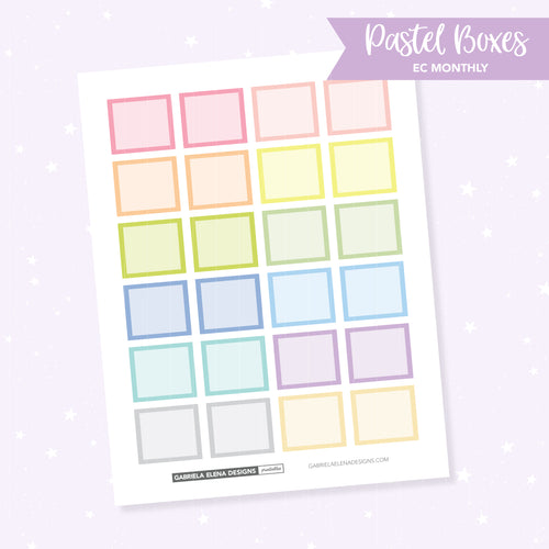 EC MONTHLY / Functional // Printable / Instant Download / Pastel Boxes